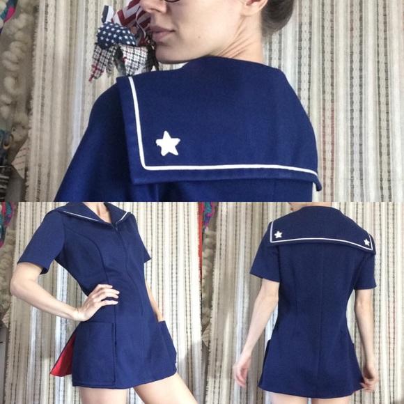 Vintage Dresses & Skirts - Navy Blue Nautical True Vintage Mini Dress